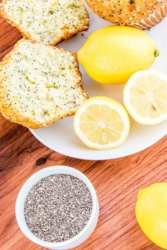 Healthier Lemon Chia Seed Muffins  Loaded with nutritious chia seeds, these healthier lemon muffins are the perfect afternoon snack. #healthy #recipes #muffins #greatist
