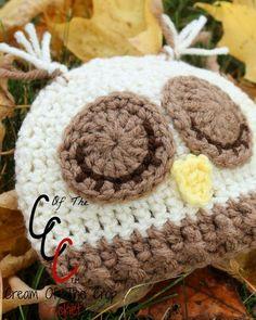Cream Of The Crop Crochet ~ Preemie/Newborn Sleepy Owl Hats {Free Crochet Pattern}: