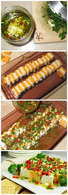 You know those dishes that are always the first ones gobbled up at a party?  And that you always seem to be giving out the recipe?  This is one of those.  Yup, this is always the hit of the party!  And it was no exception at Mom's wine tasting party. And just who would think of marinating cheese??  ...