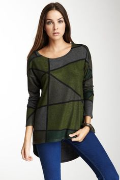 Go Couture Vintage Green Hi-Lo Tunic Sweater