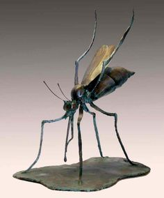 """Forged, welded steel with bronze patina 10 """" 2009 I revisited this insect subject to create what I hope is a more visceral rendition than my previous interpretations. Growing up in New Jerse Metal Art Projects, Bronze Patina, Insect Art, Welding Art, Sport Bikes, Mythical Creatures, Sculpture Art, Sculpting, Cool Art"""