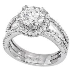 18K White Gold 1.55Ct Round Cut Diamond Engagement Ring