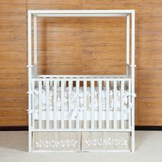 Crib - White modern crib with canopy