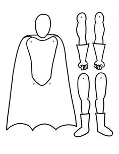 superhero printable with movable arms and legs paper doll: color and poke in brass fastener brads on the dots