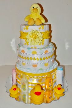 Yellow Neutral Duck Diaper Cake for Baby by TheSerendipitousGirl