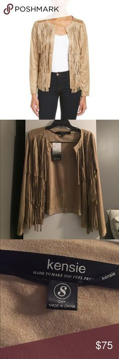 Kensie camel faux suede fringe jacket NWT Kensie camel suede fringe jacket. NWT. Size small. Non smoking. Super cute light jacket for spring through fall! Kensie Jackets & Coats Blazers