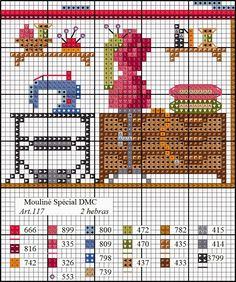 O Blog da DMC: Esquema casa em ponto de cruz: o quarto de costura