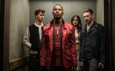 Ansel Elgort, Jon Hamm, Jamie Foxx and Eiza González in Baby Driver - Baby Driver Review