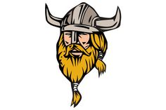 Viking Warrior Head Retro - Illustrations. Illustration of a norseman viking warrior raider barbarian head with beard wearing horned helmet viewed from front set on isolated white background done in retro style.  #illustration  #VikingWarriorHead