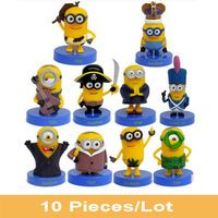 New 10 PCS 2015 Movie Despicable Me 3 Minions Action Figure Stand 4-8cm Anime Brinquedos Vampire Primitive Pirate Christmas Gift