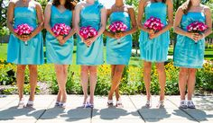 Pink and teal wedding colors. Great for a summer wedding.