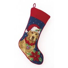 THE WELL APPOINTED HOUSE - Luxury Home Decor- Golden Retriever II Needlepoint Christmas Stocking - Christmas Stockings - Christmas - Holiday