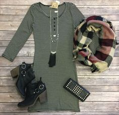 When the Mood Stripes Tunic Dress: Black from privityboutique