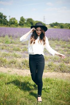 Black ASOS hat, black Dorothy Perkins jeans, white Dorothy Perkins blouse