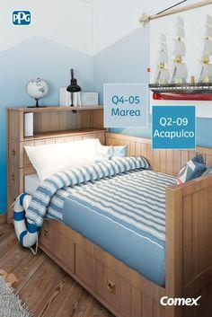 Haz un degradado de tonos azules en el cuarto de tus niños. Parece arriesgado pero el resultado es increíble <3  #ComexTips