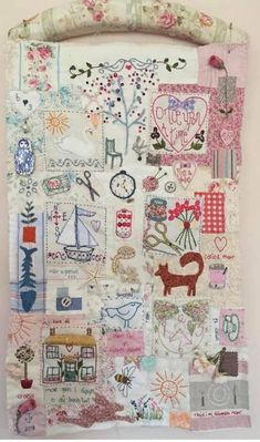 Simple Embroidery, Vintage Embroidery, Embroidery Applique, Embroidery Patterns, Fiber Art Quilts, Cross Stitch Fairy, Country Quilts, Embroidered Quilts, Fabric Journals