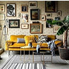 If You Read Nothing Else Today, Read This Report on Modern Bohemian Living Room Inspiration - Pecansthomedecor Retro Home Decor, Rooms Home Decor, Home Room, Vintage Decor, Urban Home Decor, Victorian Decor, Vintage Art, Yellow Sofa, Yellow Pillows
