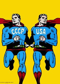 "This poster, which appears on the front cover of David Crowley's ""Posters of the Cold War"" book, depicts the USA and USSR, side-by-side, as identical Superman characters. It implies that each nation is simply a mirror image of the other and that both are equally harmful and destructive. Cieslewicz uses the Superman character as a symbol of masculinity, machismo and the ridiculousness of the Cold War in general."