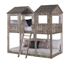 Shop Twin over Twin Tower Bunk Bed in Rustic White - On Sale - Overstock - 28167470 Bunk Bed With Trundle, Cool Bunk Beds, Twin Bunk Beds, Kids Bunk Beds, Twin Twin, Kids Toddler Bed, Low Loft Beds, Rustic Bedding, Rustic White