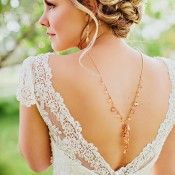 Cap Sleeve Lace Wedding Gown With Deep V Back1