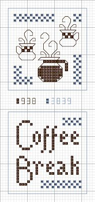 Cross Stitch Happy: Coffee Break Scissors Fob