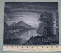 C1900-Antique-Folk-Art-Sandpaper-Moon-Lit-Landscape,Marble-Dust-Drawings.