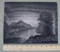 C1900-Antique-Folk-Art-Sandpaper-Moon-Lit-Landscape,Marble-Dust-Drawings.