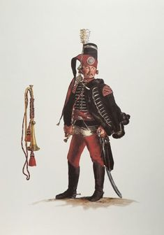 Prussia; 5th Hussars, Trumpeter by Adolph Menzel