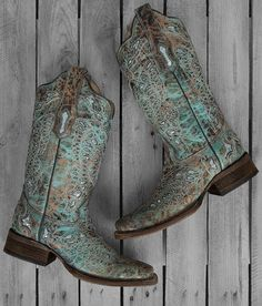 Corral Ladies Turquoise & Bronze Glitter Butterfly Square Toe Boots - A2955