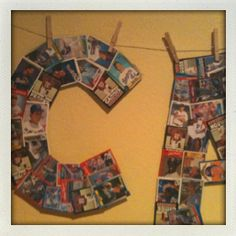 Wall letters for boys room made out of baseball cards