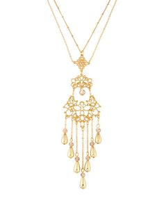 Long Filigree Tassel Pendant Necklace