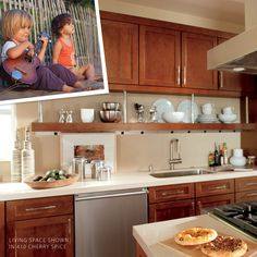I look at those warm cherry-brown cabinets, it reminds me of my first guitar and it takes me back. Brown Cabinets, Cherry Cabinets, Kitchen Cabinets, Cherry Brown, Color Stories, Cabinet Doors, Living Spaces, Spices, Guitar