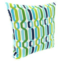 Outdoor Square Toss Pillow - Blue/Green Geometric Quick Information Outdoor Cushions And Pillows, Lounge Cushions, Blue Pillows, Toss Pillows, Outdoor Rugs, Outdoor Decor, Outdoor Spaces, Outdoor Living, Patio Accessories