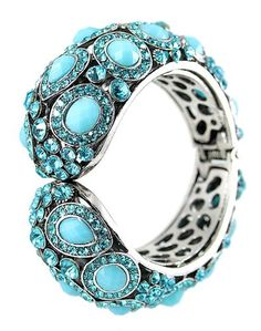 Silvertone Designer Hinged Bangel Bracelet with Blue Topaz Color Crystals 1.4 Inch Wide