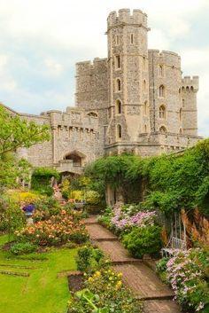 The garden and part of castle of Windsor, Berkshire, UK