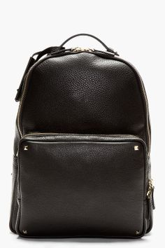 Valentino Black Pebbled Leather Backpack for men | SSENSE