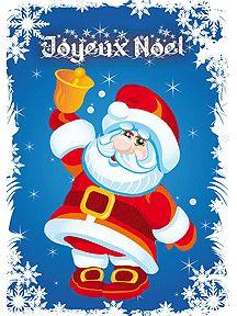 A imprimer, carte de vœux avec papa noël avec sa clochette souhaitant un joyeux noël
