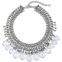 Chico's Kimmi Bib Statement Necklace (245 RON) ❤ liked on Polyvore featuring jewelry, necklaces, grey, collar necklace, bib necklaces, bib statement necklace, plastic bead necklaces and beaded statement necklace