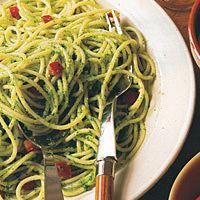 Spaghetti with Parsley Almond Pesto