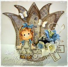 tulip card with tilda with lace pants 1 Stamps - Scraps