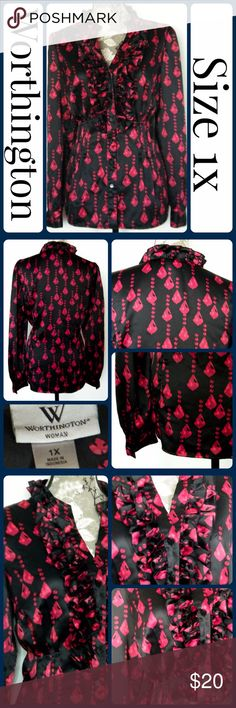 "Sz 1x Ruby Black & Red Silk Blouse by Worthington So cute and perfect dressed up or down!  *Brand new without tags.  *Across Bust 24""  *Length 27"" from center back *Sleeve from armpit to end 19""  *No rips, tears, or stains From a smoke-free, No trades (T196) Worthington Tops Blouses"