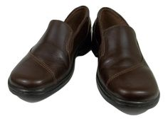 Clarks Loafers Solid Brown Leather Slip On Shoes Womens Size 8 M #Clarks #Loafers