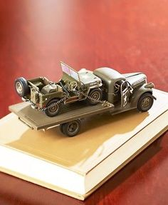 Collectible-Die-Cast-WWII-Military-Vehicle-Gift-Set-Jeep-Willys-amp-Chevy-Truck