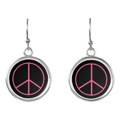 Pink Coral Peace Sign Earrings