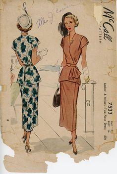 1940s Peplum Dress Pattern McCall 7533 Bust 34 by CynicalGirl