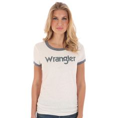 Wrangler Navy Logo Tee- The Navy Wrangler Logo tee is super cute and will go with everything, making it your new go-to tee.