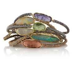 Mixing tanzanite,tourmaline, and boulder opal woven bracelets together. #brookegregson