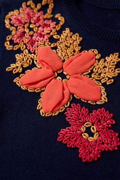 Posey Patch Cardigan close up of embroidery Embroidery On Kurtis, Kurti Embroidery Design, Hand Embroidery Stitches, Silk Ribbon Embroidery, Hand Embroidery Designs, Beaded Embroidery, Cross Stitch Embroidery, Art Du Fil, Needlework