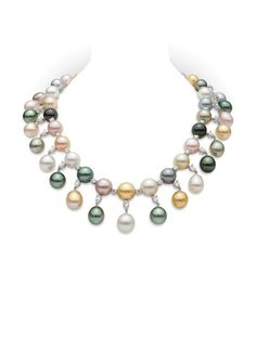 White, Black and Golden South Sea and Fresh water pearl necklace Mikimoto