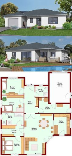 Bungalow MARE 139 with garage - Modern Mexican Style Kitchens, Garage Plans, Pent House, Garden Planning, Modern Architecture, House Plans, Floor Plans, Home And Garden, Backyard